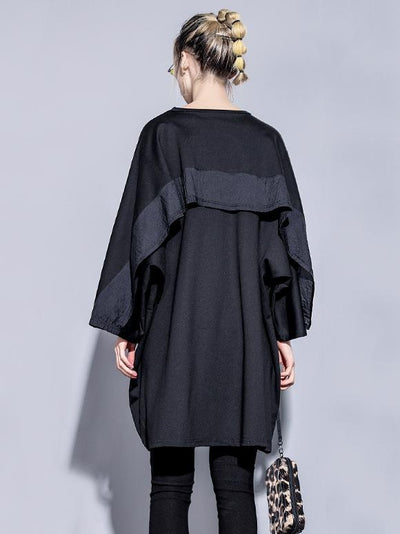Loose Batwings Black Long Shirt