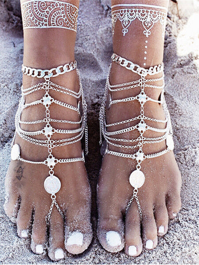 Bohemian Retro Beach Metal Coin Multi-Layer Tassel Foot Chain Accessory