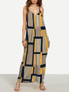 Colorful V-neck Stylish Ankle-deep Plaid Long Dress