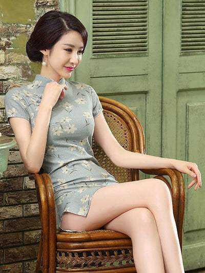 Chinese Traditional Light-green Short Dress with Floral Print