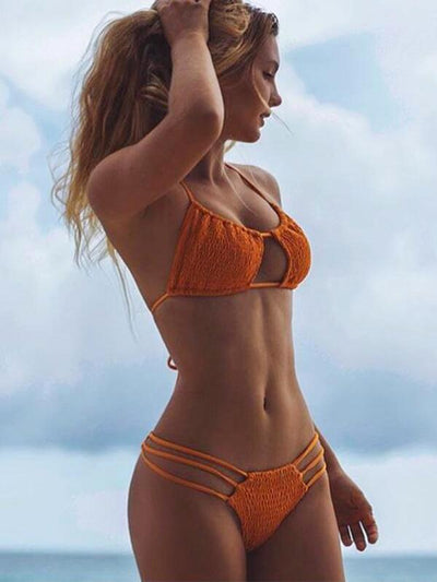 Sexy Ruffled Plain Bikinis Swimwear