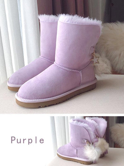 Mid-Tube Wool Tassel Fur Ball Snow Boots Uggs