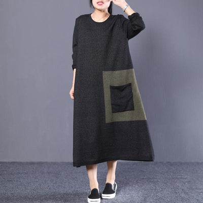 Loose Round Neck Long Knit Sweater Coffee and Black Dress