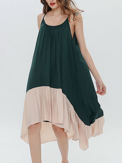 STITCHING COLOR BACKLESS MIDI DRESS