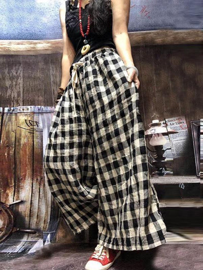 Big&Small Plaid Lace-up Pants
