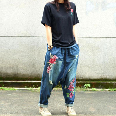 Causal Women Cotton Floral Harem Pants
