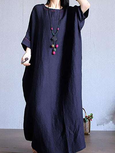 Ramie Cotton Loose Maxi Dress