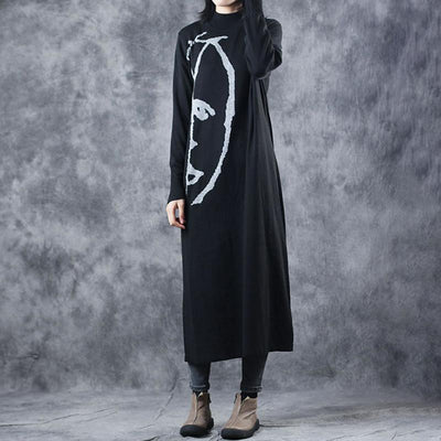 Buykud Half Turtleneck Printed Elegant Sweater Dress