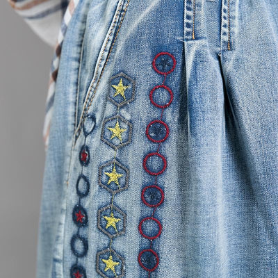 Embroidered Stars And Rounds Frayed Jeans