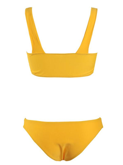 Ruched Plain Yellow Bikini Swimsuit