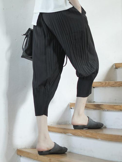 Vintage Loose Ruffled Solid Pants