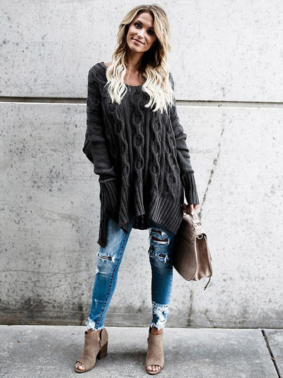 Long Sleeves Black Sweater Tops