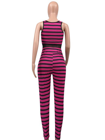Fashion Striped Long Jumpsuits