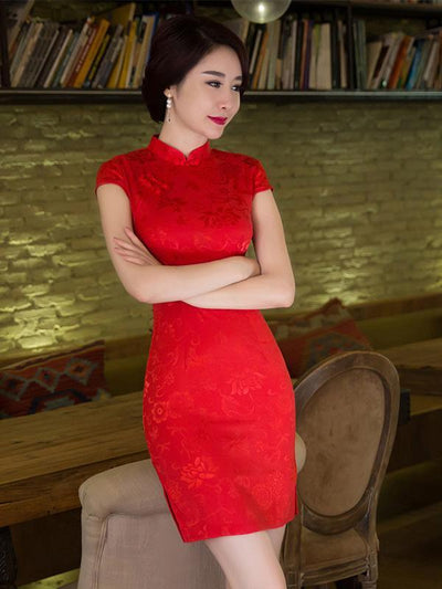 Red Jacquard Stand Collar Short Cheongsam