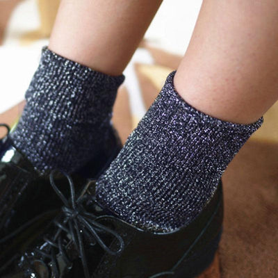Fashionable Women Thick Warm Navy Blue Plie Stocking