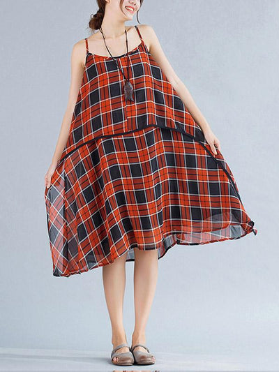 Elegant Red Plaid Long Suspender Skirt