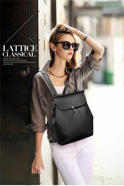 Multi-Functional Women Genuine Leather Backpack