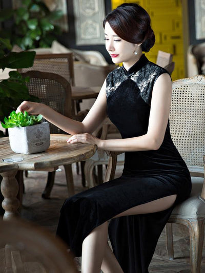 Original Chinese Long Dress in Black Color