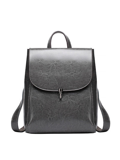 Fashion Pure Color Genuine Leather Zipper Women Backpack