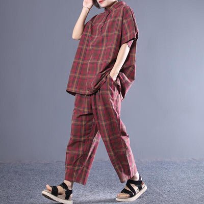 Casual Sports Plaid T-Shirt And Pants