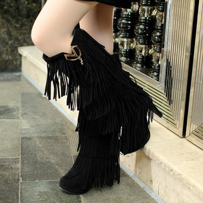 Lady Multi-layer Tassel High Boots Uggs