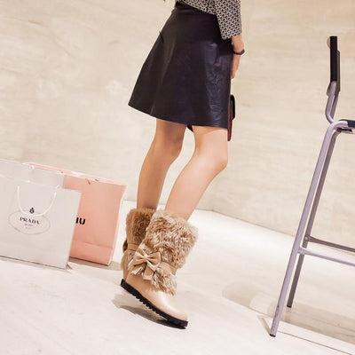 Fashion Bow Slope Intense Plush Warm Snow Boots Uggs