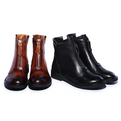 Fashion Retro Cowhide short boots