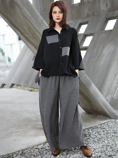 ASYMMETRIC BOYFRIEND SPLIT-JOINT BLOUSES+STRIPED PANTS SUITS