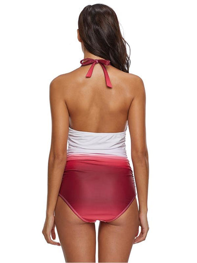 Backless Gradient Halter-neck One-piece Swimwear