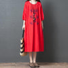 Casual Womens Vintage Linen Half Sleeve Dress