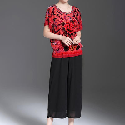 Casual Floral Round Neck And Wide Leg Pants