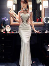 Chinese Oriental Style Laced White Evening Dress