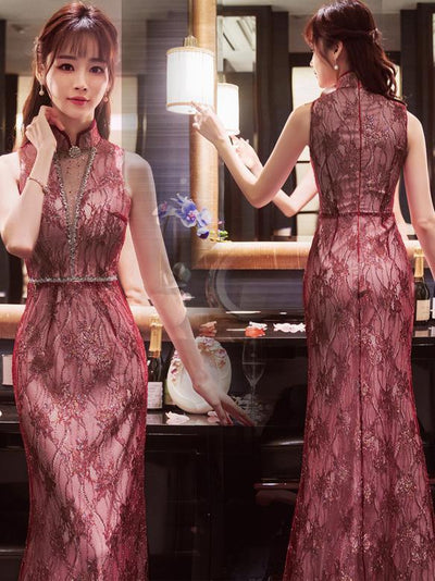 Traditional Chinese Long Sleeveless Evening Dress in Red Color