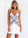 Printed Backless Condole Belt Mini Dress