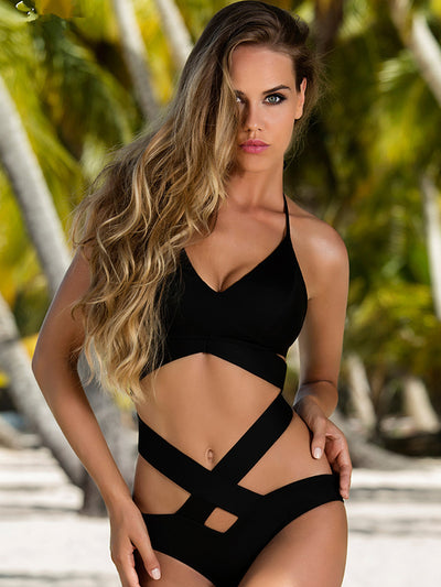 Sexy Black X Shaped Bikini Set