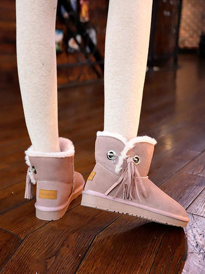 Flat Bottom Velvet Tassel Short Tube Snow Boots Uggs