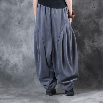 Loose Casual Winter Simple Light Gray Pants For Women