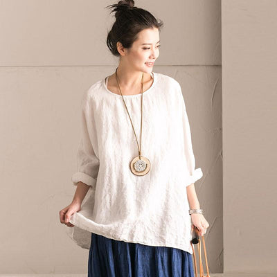 Linen Bat Sleeve Round Neck Loose White Shirt