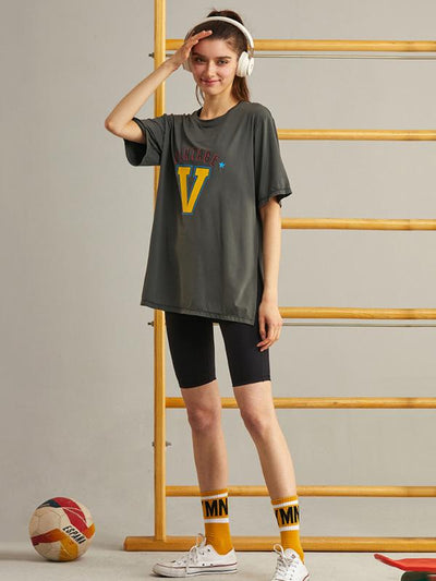 Loose Quick Dry Breathable Printed Sports T-Shirts Tops