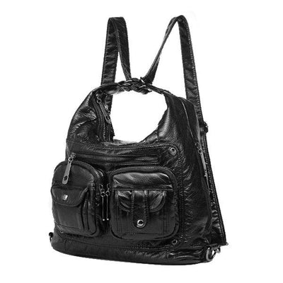 Multi-pockets Backpack Solid Multi-carry Crossbody Bag