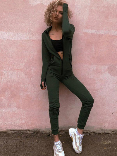 Long Sleeve Zip Hoodie Gym Jumpsuits