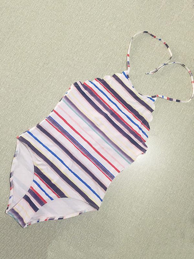 Halter-neck Backless One-piece Swimwear
