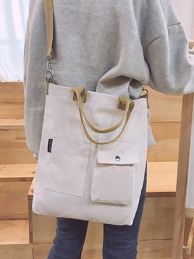 3 Colors With-pockets Canvas Handbag