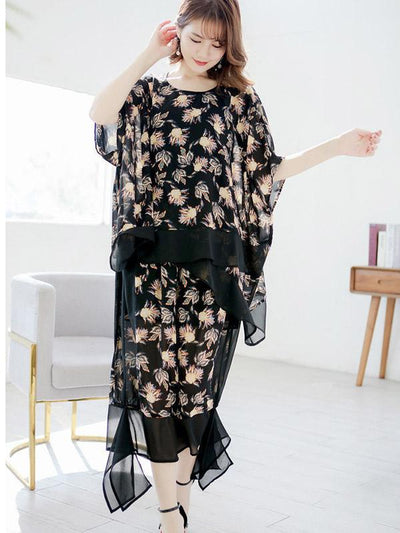 Casual Chiffon Flower Printed Suits
