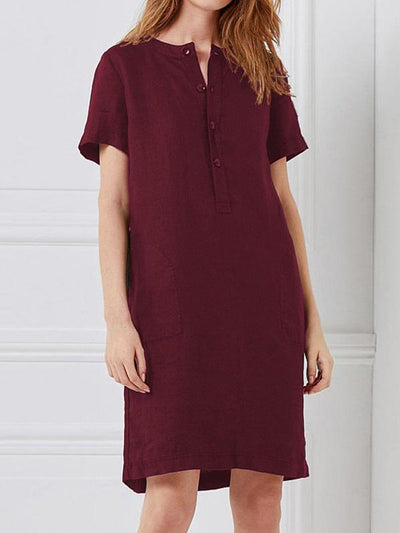 Plus Size Short Sleeves Midi Dress