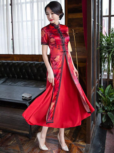 Two Pieces Red Ao Dai Long Cheongsam