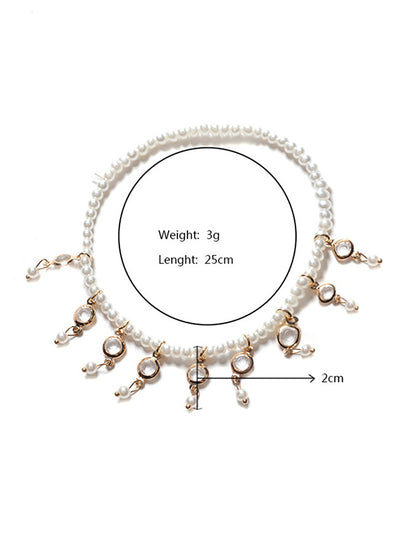 Fringe Pearls Tassel Stretch Foot Chain Accessory