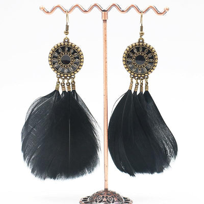 Alloy earrings female fluffy feather tassel long earrings