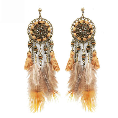 Handmade tassel Creative feather pendant leather wood bead crystal Earrings Wholesale