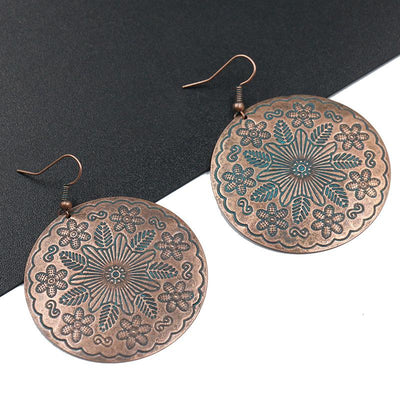 Vintage alloy big fashion flower long exaggeration earrings